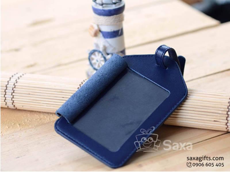 Thẻ hành lý da kiểu đứng có nắp đậy màu xanh đậm