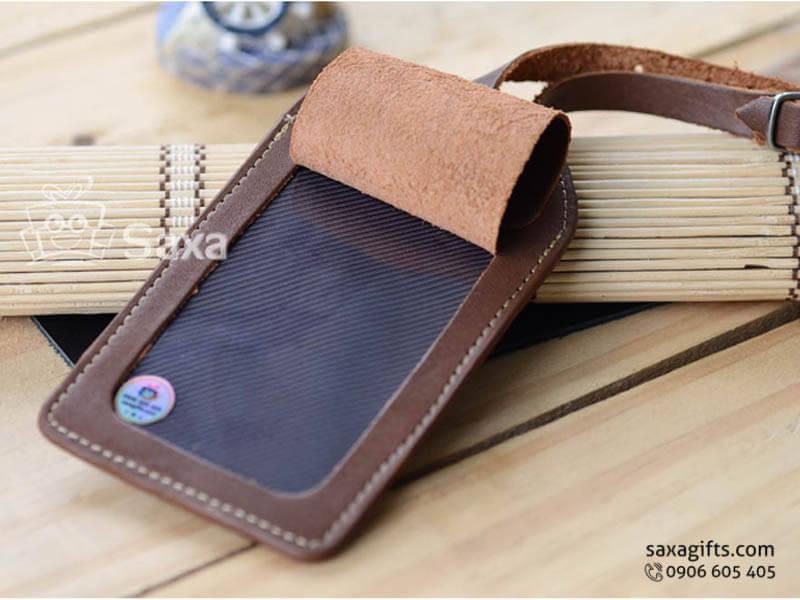 Thẻ đeo vali hành lý da in logo có nắp lật chất liệu da bò 100%
