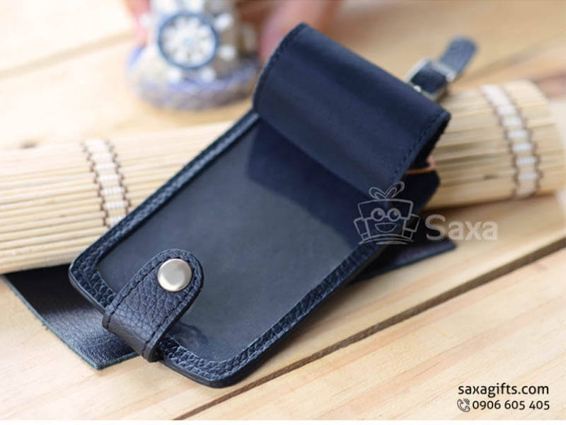 Thẻ đeo vali hành lý da in logo có nắp đậy và nút bấm
