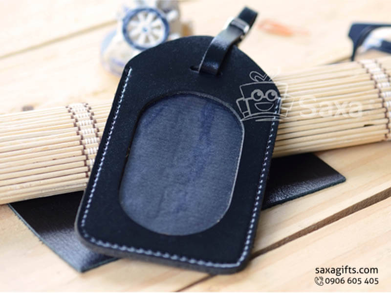 Thẻ hành lý giả da bằng PU màu đen có khóa cài ở dây