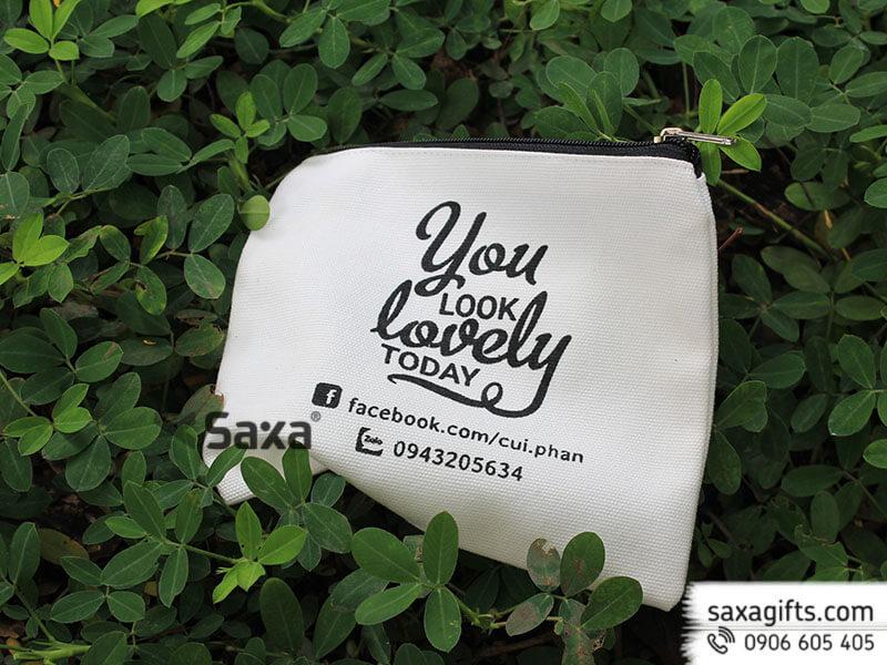 Túi vải canvas in logo đựng dụng cụ trang điểm