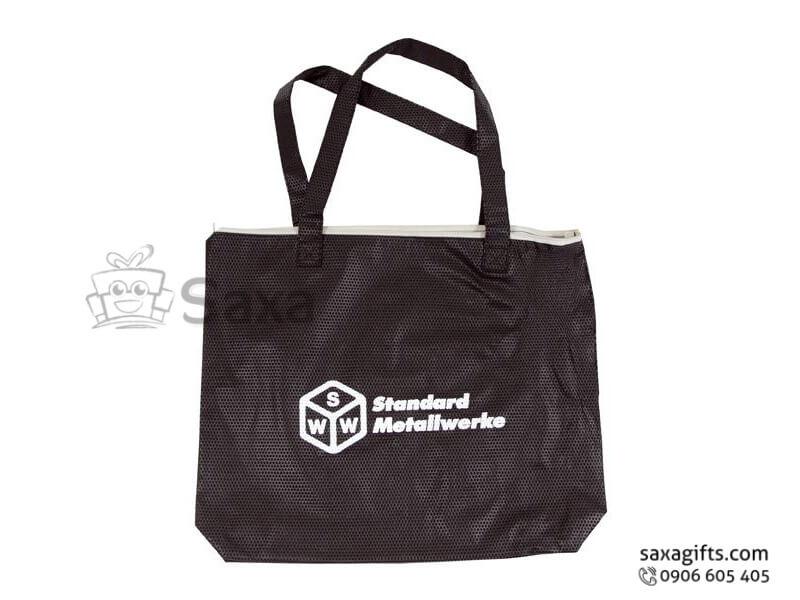 Túi xách tay vải dù in logo màu đen