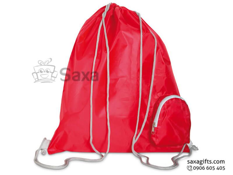 Túi xách tay vải dù in logo dây rút có ngăn nhỏ bên phải