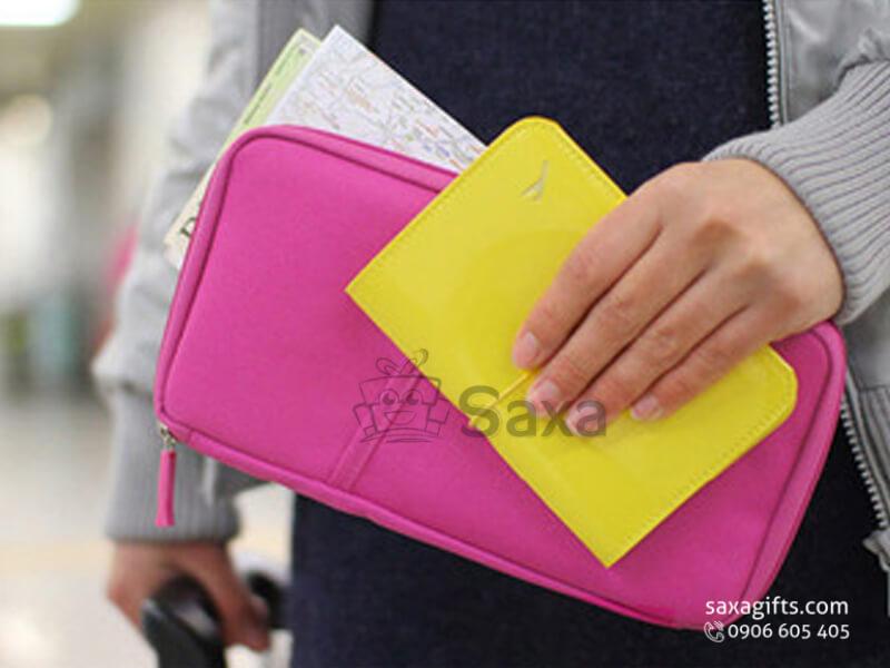 Túi vải dù in logo đựng passport nhỏ gọn