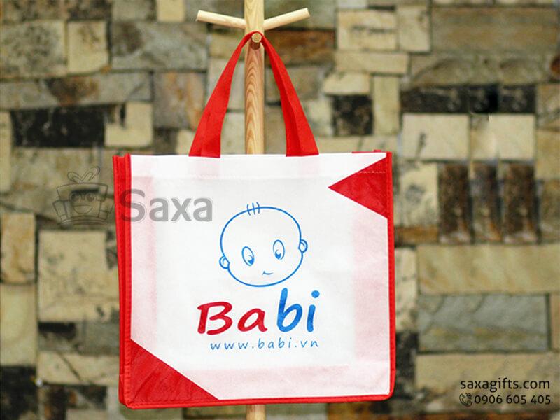 Túi môi trường in logo dạng túi hộp quai xách ngắn thời trang