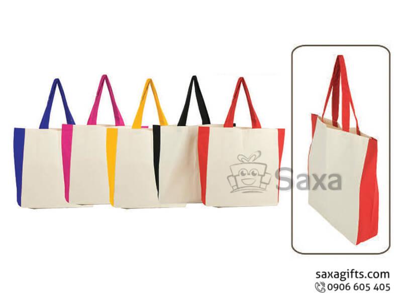 Túi môi trường in logo phối màu ở hông và quai