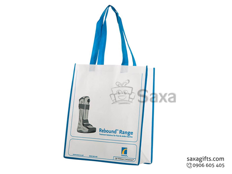 Túi môi trường in logo dạng túi hộp quai và viền phối màu