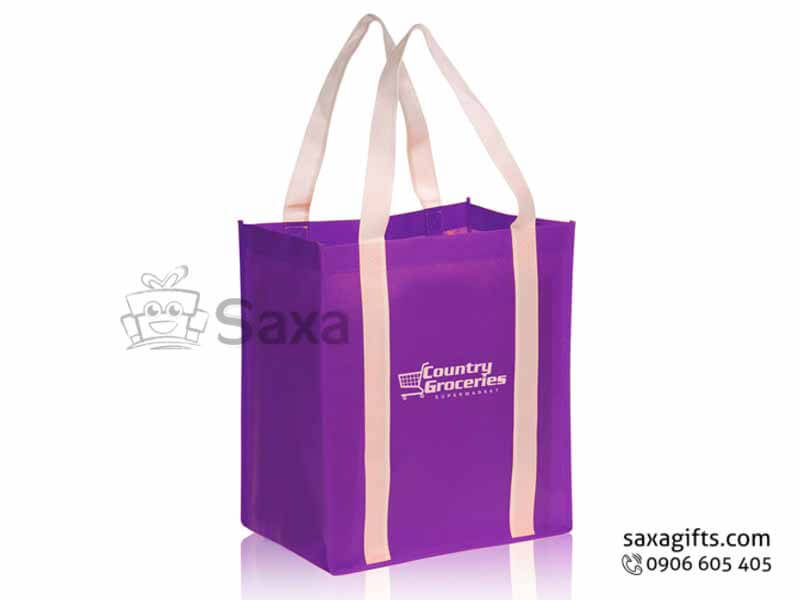 Túi môi trường in logo dạng túi hộp quai phối màu may dọc thân