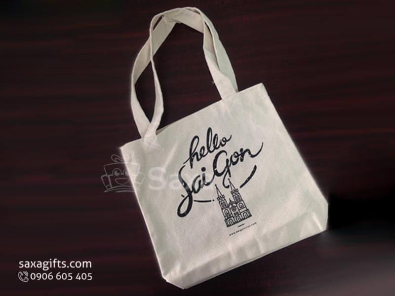 Túi vải canvas in logo có quai xách quảng bá du lịch