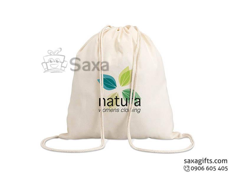 Túi vải canvas in logo kiểu dáng balo dây rút năng động