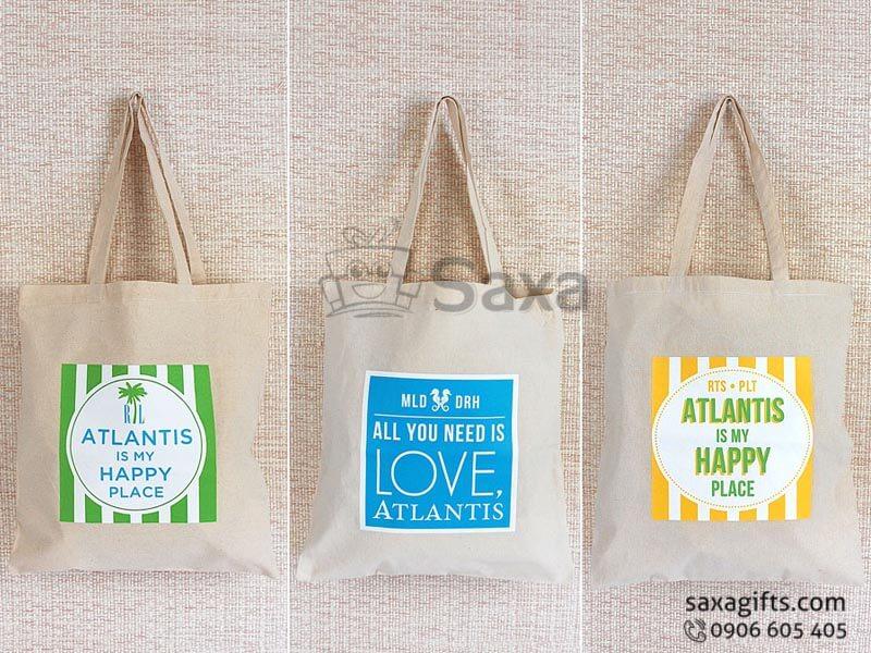 Túi vải canvas in logo có quai xách tiện dụng