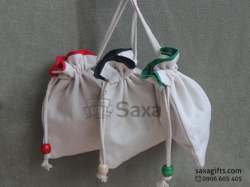 Túi vải canvas in logo dây rút miệng túi phối màu