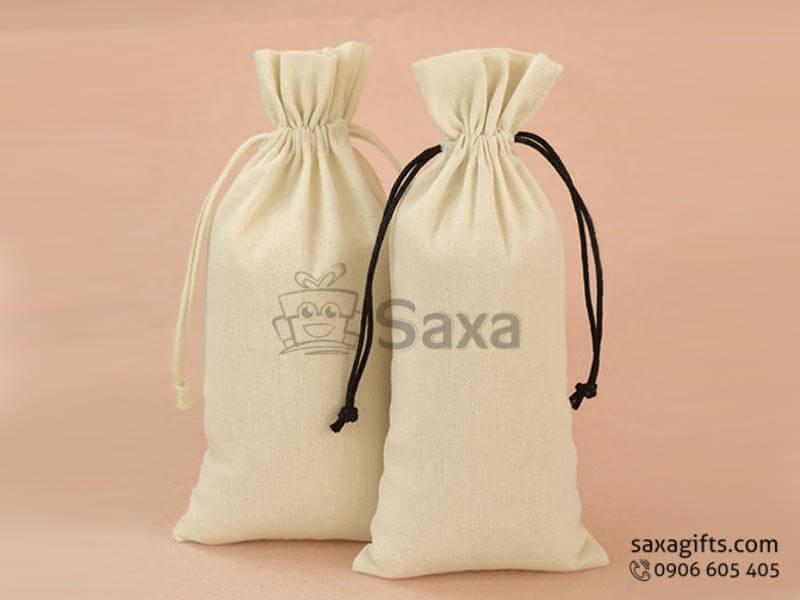 Túi vải canvas in logo dạng dây rút nhỏ gọn giá rẻ