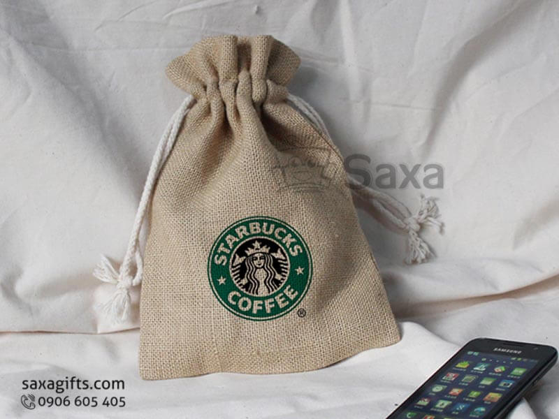 Túi vải canvas in logo rút dây của Starbucks Coffee