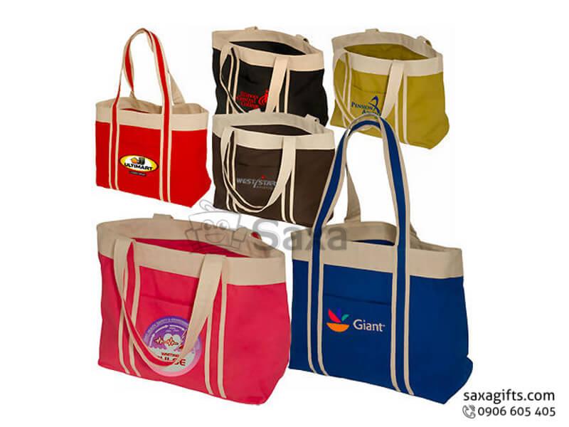 Túi vải canvas in logo quai phối màu thời trang
