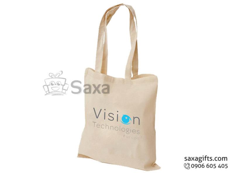Túi vải canvas in logo xách tay in lụa theo yêu cầu