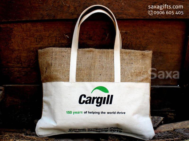 Túi vải canvas in logo xách tay phối vải bố độc đáo