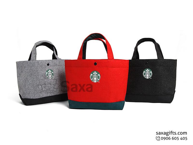 Túi vải canvas in logo kiểu xách tay có nút bấm