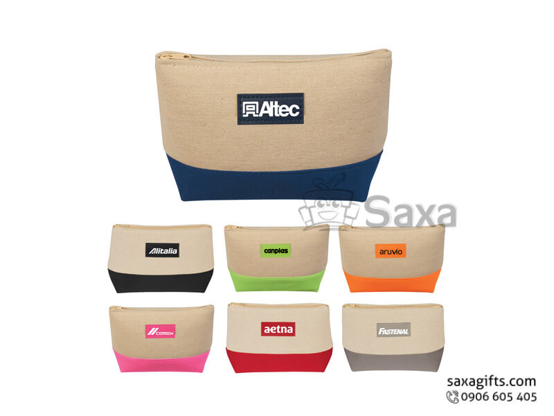 Túi vải canvas in logo dạng bóp tiền phối 2 màu