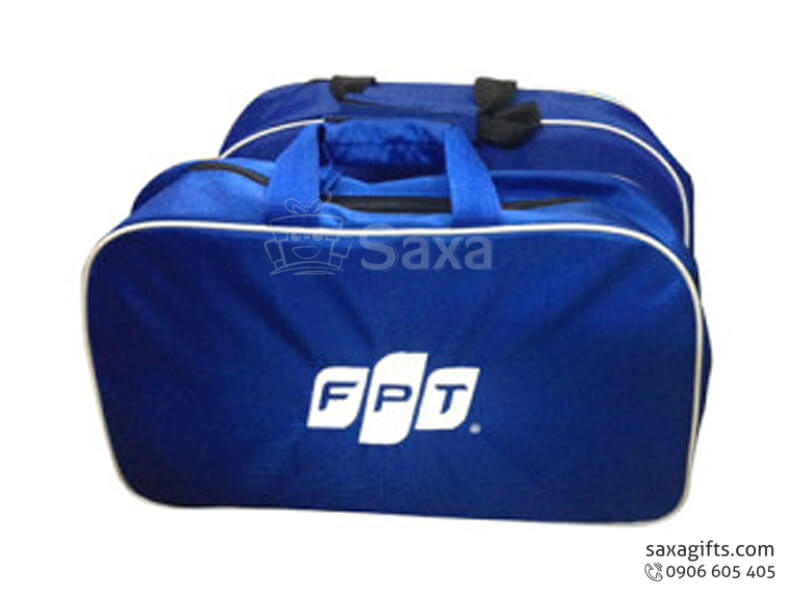 Túi du lịch in logo FPT 2 ngăn rời màu xanh dương