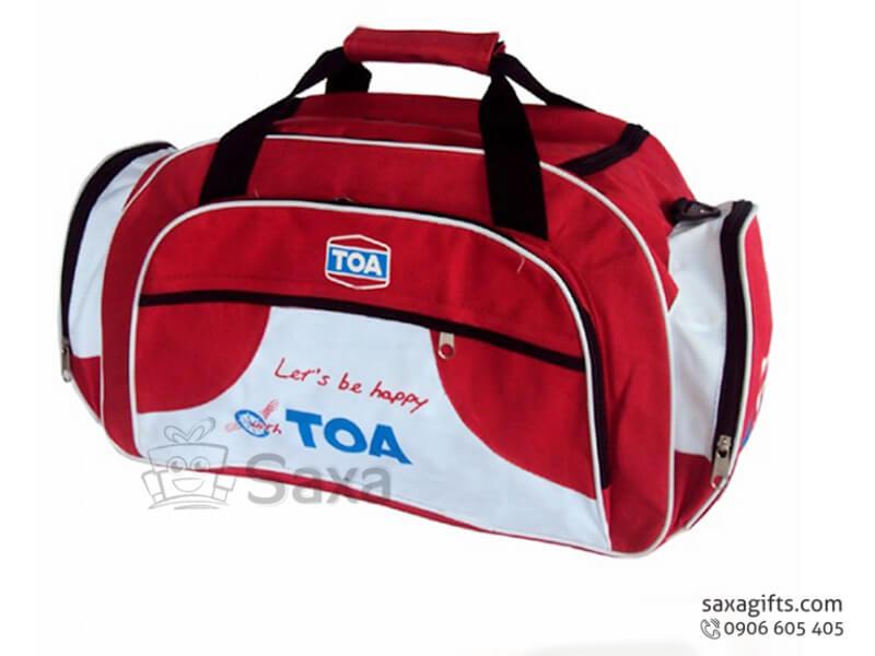 Túi du lịch in logo cỡ lớn 4 ngăn đỏ phối trắng của sơn Toa