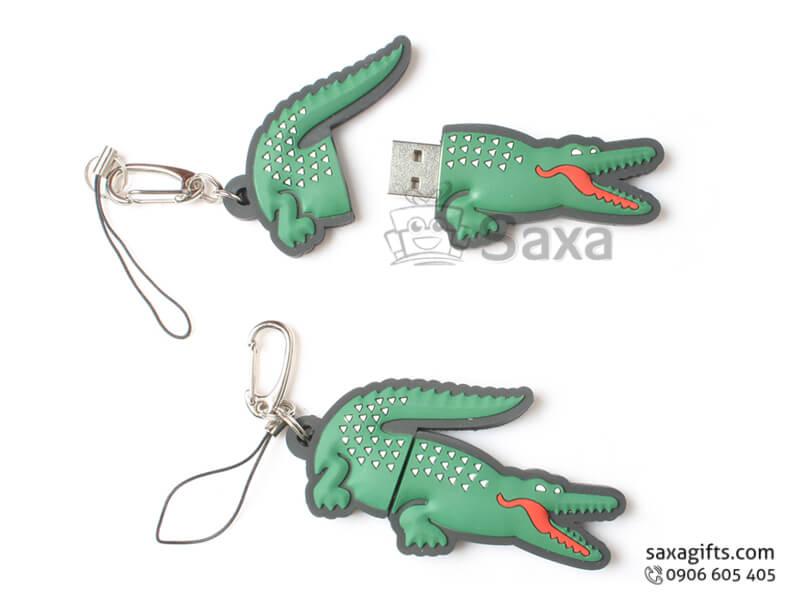 USB cao su đổ khuôn 2D nắp rời hình con cá sấu