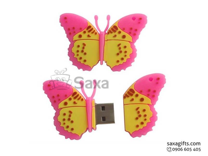 USB vỏ cao su đổ khuôn 2D nắp rời hình bươm bướm