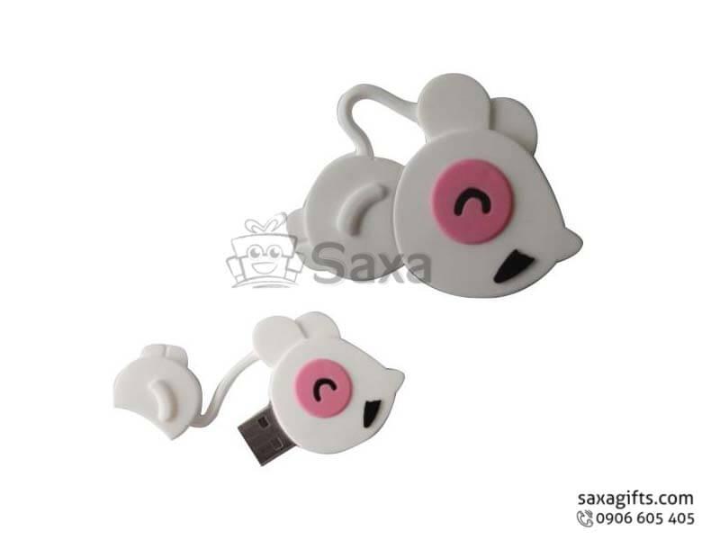 USB vỏ cao su làm theo mẫu 2D nắp rời hình con chuột