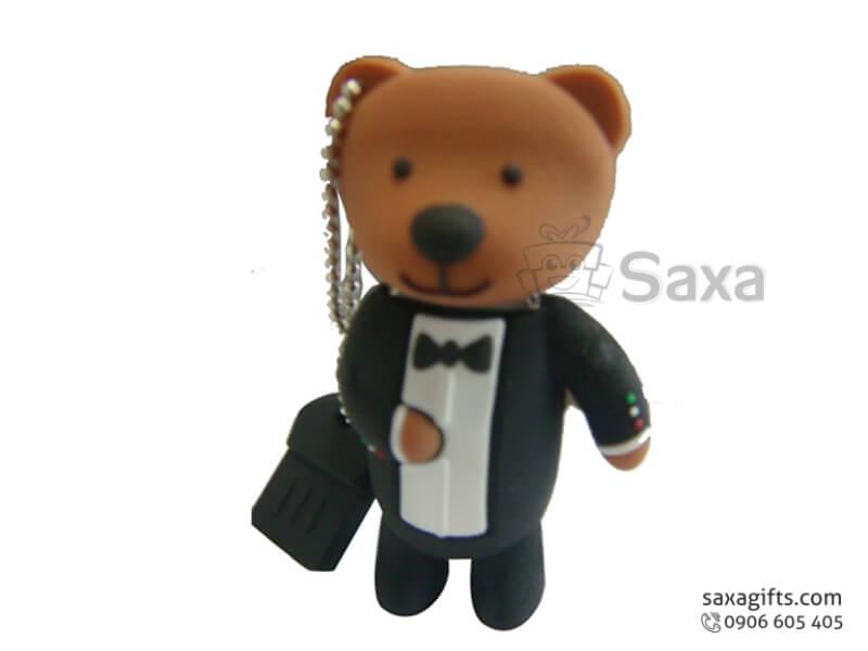 USB vỏ cao su 3D nắp rời hình Gấu Teddy