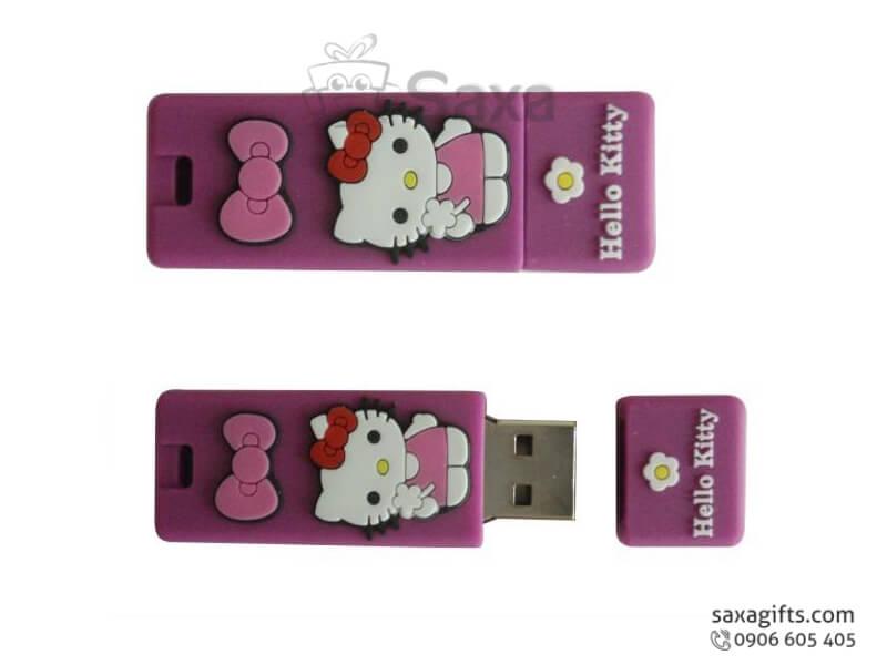 USB vỏ cao su làm theo mẫu 2D nắp rời Hello Kitty