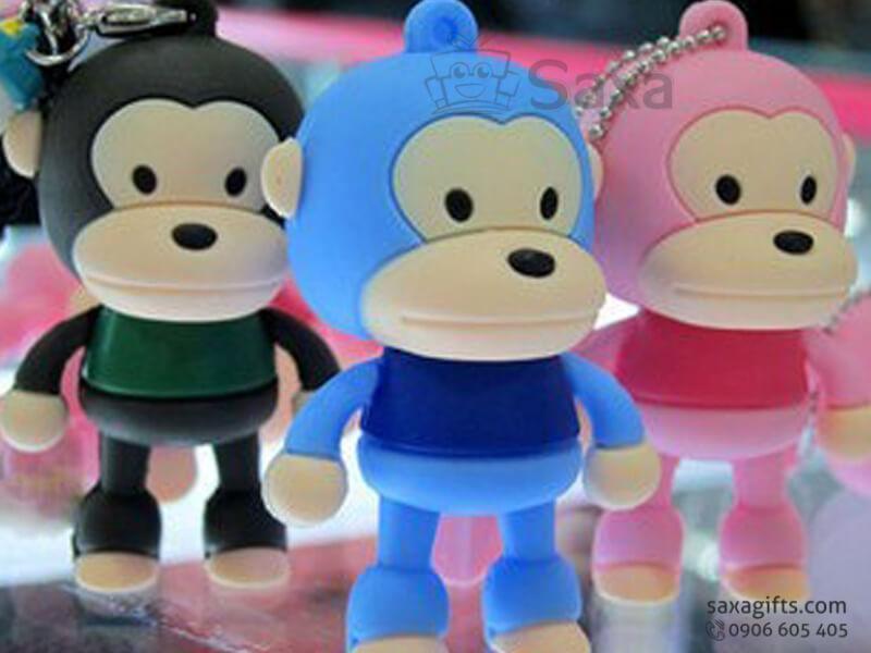 USB vỏ cao su làm theo mẫu 3D nắp rời con khỉ