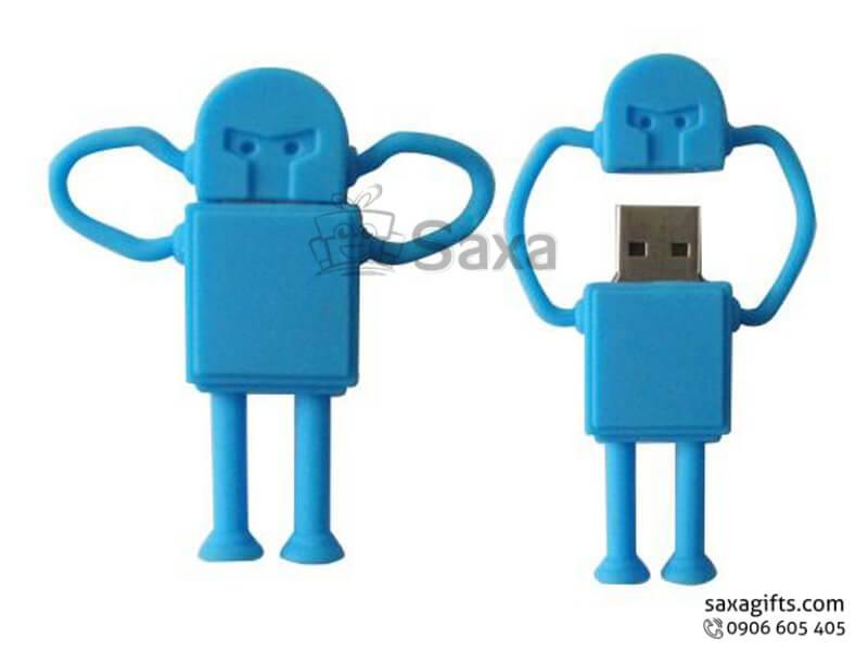 USB vỏ cao su làm theo mẫu 2D nắp rời hình robot