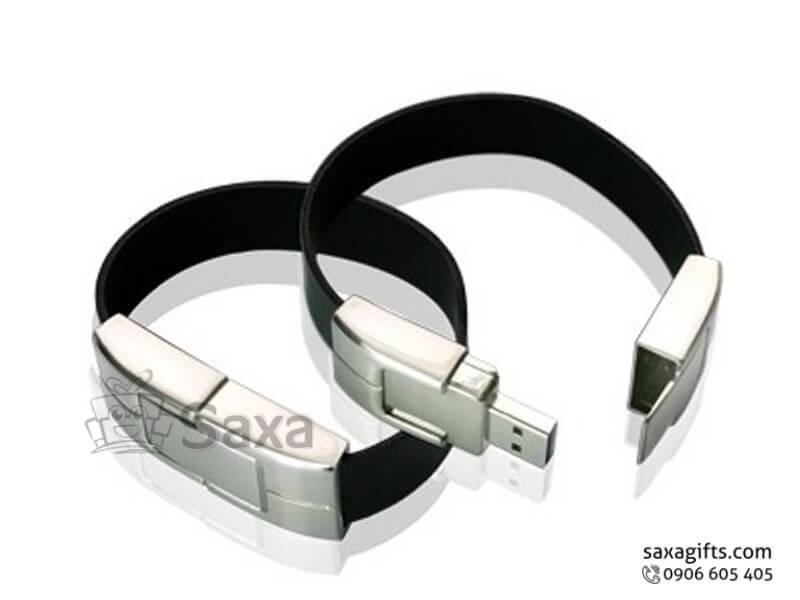 USB cao su vòng đeo tay bản to phối kim loại