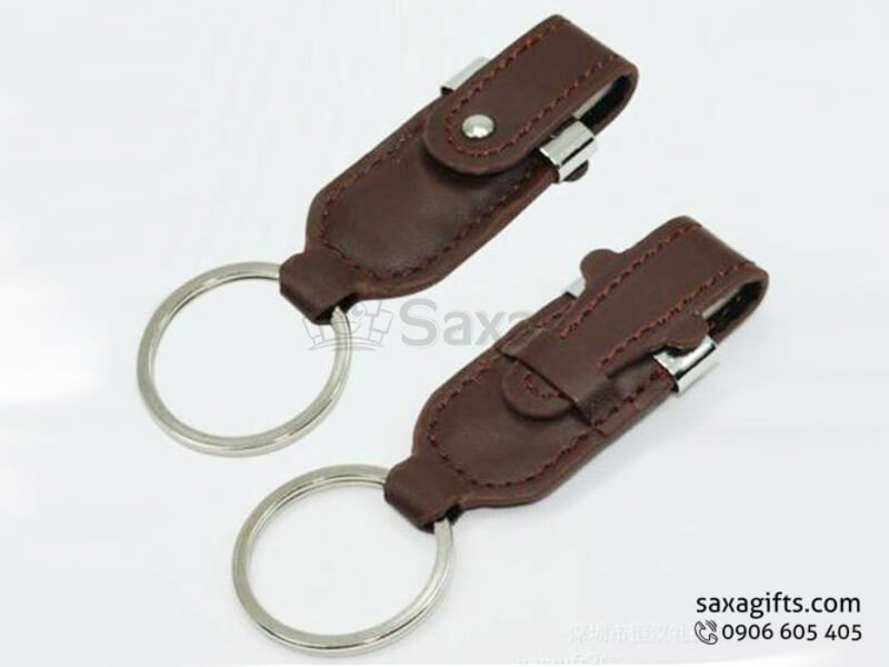 USB vỏ da in logo móc khóa bằng da nắp cài