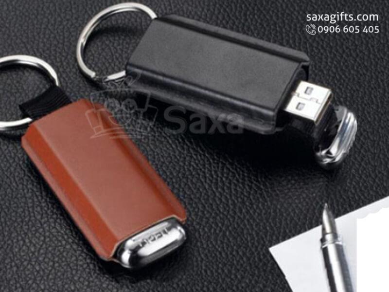 USB vỏ da in logo móc khóa, nắp rời trượt lên xuống