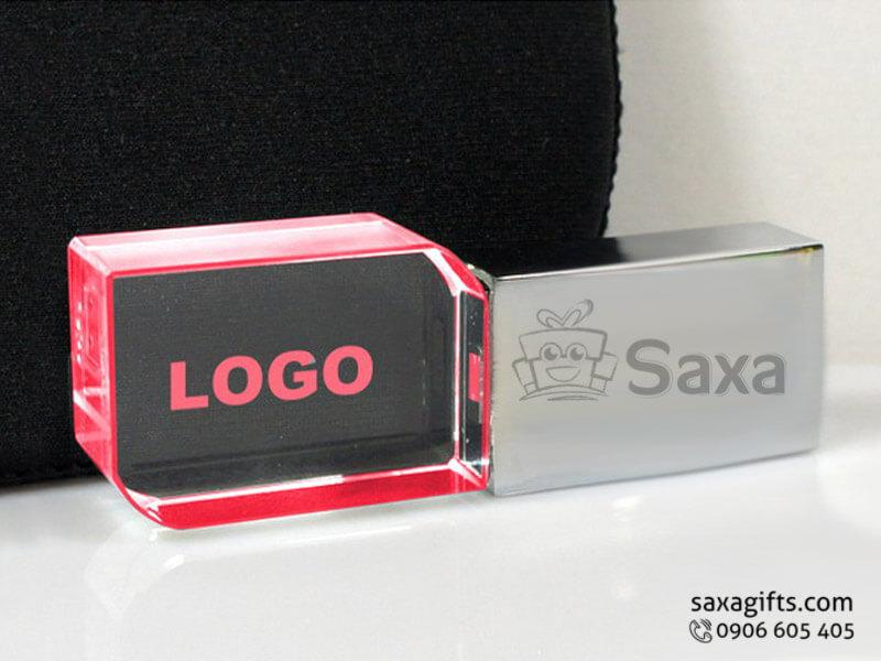 USB độc đáo kim loại phối pha lê có đèn led
