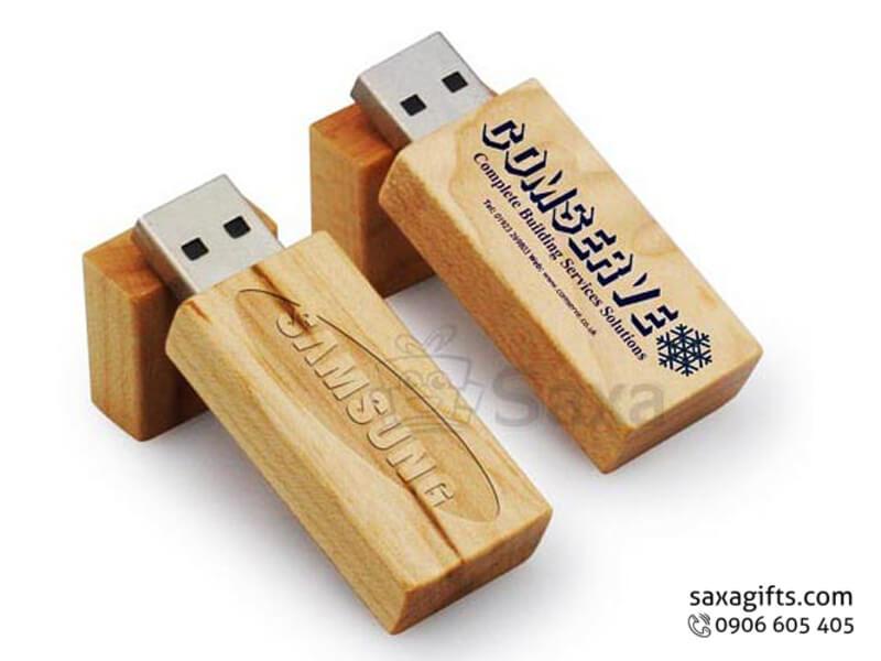 USB gỗ in logo nắp rời hình chữ nhật bo nhẹ ở phần góc