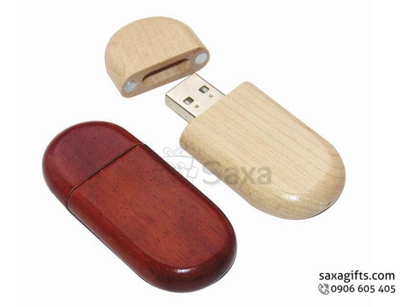 USB vỏ gỗ in logo nắp rời bo tròn các góc