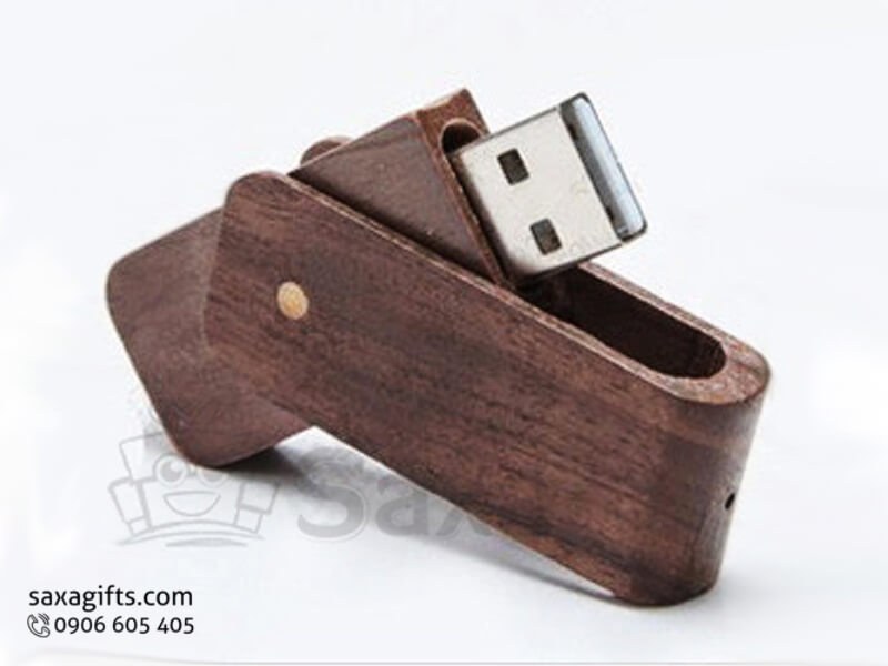 USB vỏ gỗ in logo nắp xoay 360 độ bo tròn các góc