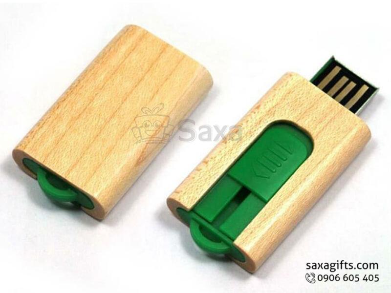 USB gỗ in logo phối thanh trượt bằng nhựa