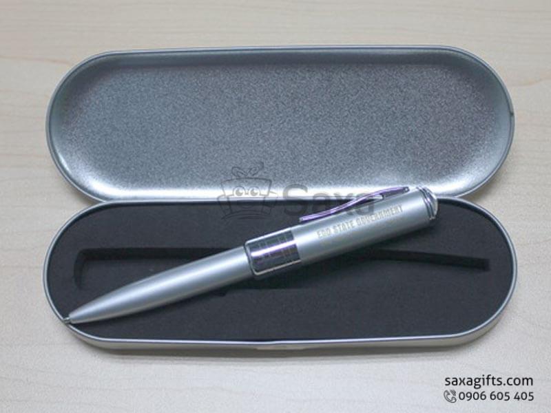Bút usb kim loại 2 trong 1 in logo màu bạc