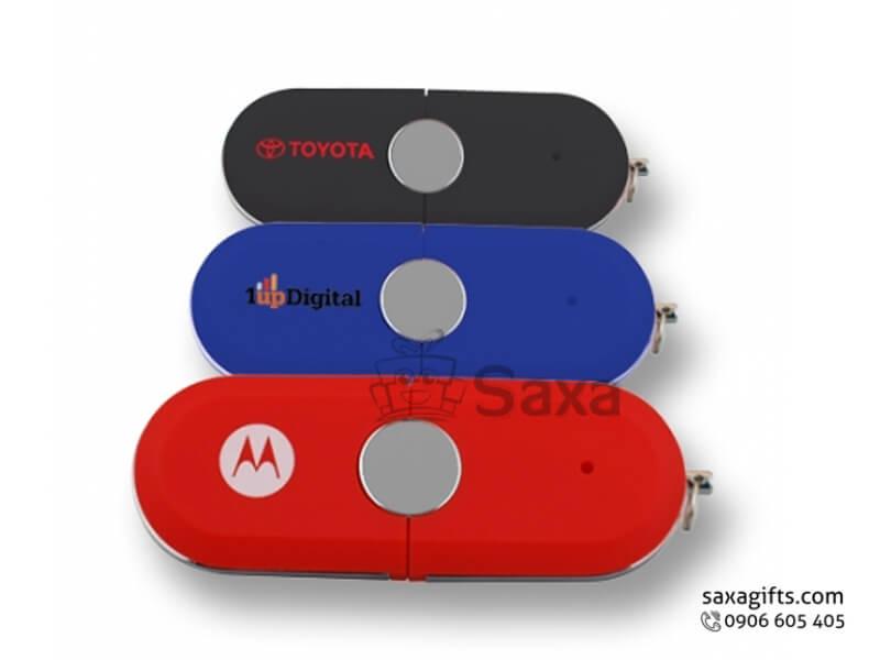 Usb nhựa in logo có móc khóa nắp rời màu đỏ tiện lợi