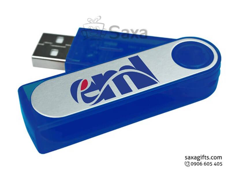 Usb nhựa in logo xoay 180 độ phối màu bạc