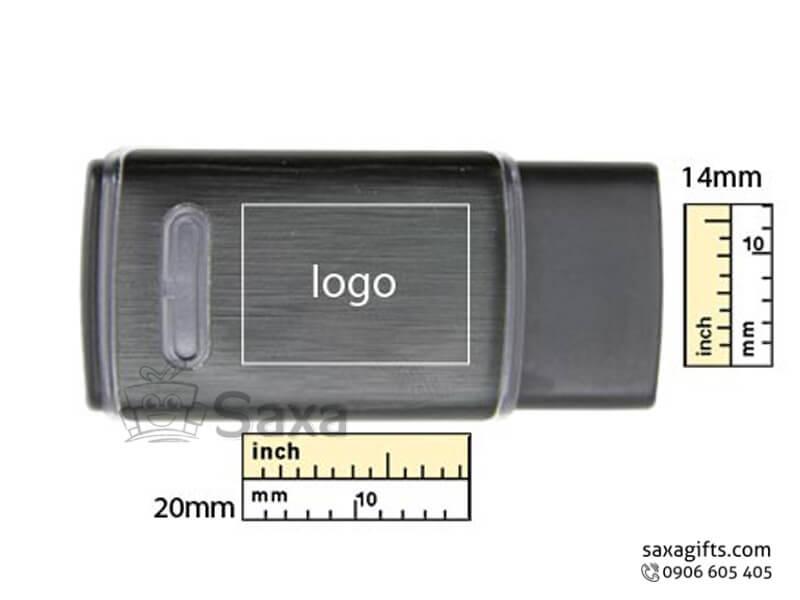 Usb nhựa in logo nắp rời có viền sáng đèn ở thân