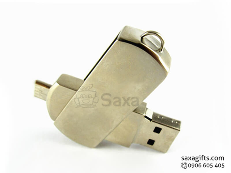 Usb on the go in logo nắp xoay bằng kim loại