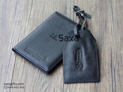 Bộ quà tặng gia dụng in logo: ví passport + thẻ đeo vali hành lý bằng da thật