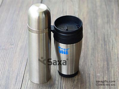 Bộ quà tặng gia dụng in logo: bình giữ nhiệt inox cao cấp + ly giữ nhiệt có quai