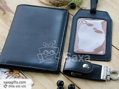 Bộ giftset văn phòng in logo bằng da: ví passport, thẻ hành lý và usb da