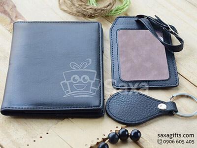 Bộ giftset văn phòng in logo da thật gồm ví tiền, thẻ hành lý và móc khóa da