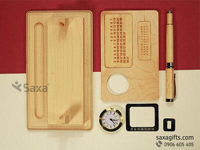 Bộ quà tặng để bàn bằng gỗ 4in1 + Bút ký gỗ sang trọng và tiện dụng